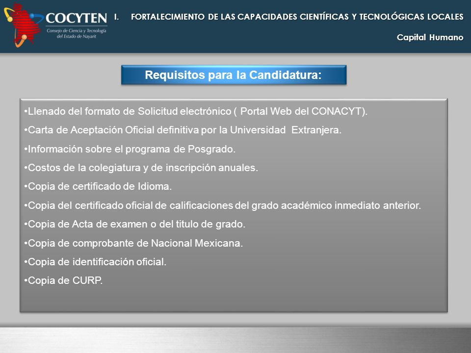 Requisitos para la Candidatura: