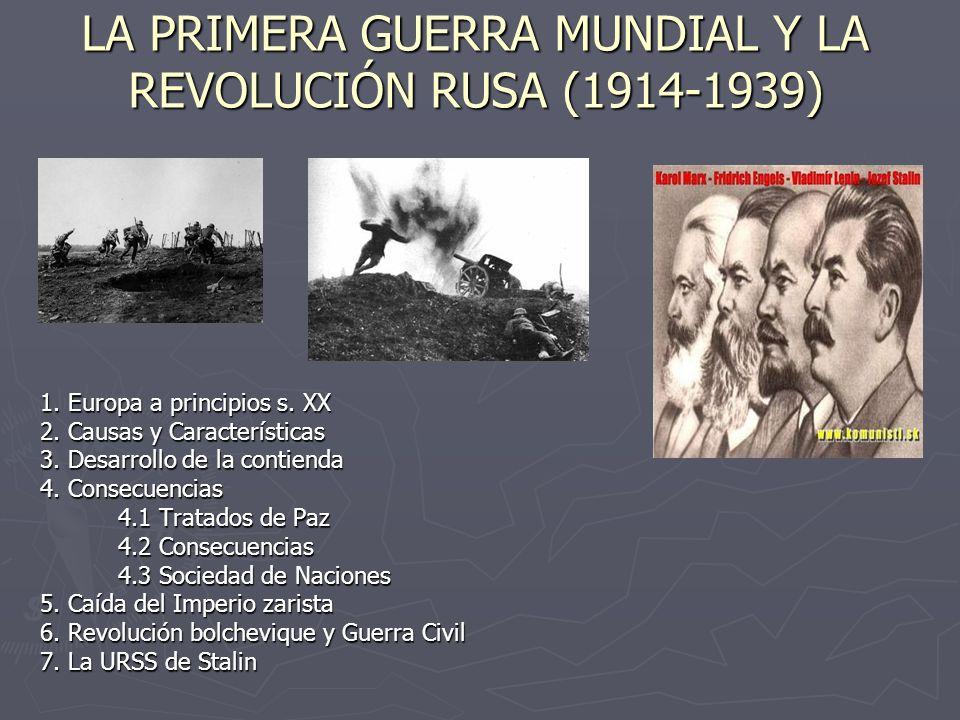 LA PRIMERA GUERRA MUNDIAL Y LA REVOLUCIÓN RUSA (1914-1939)