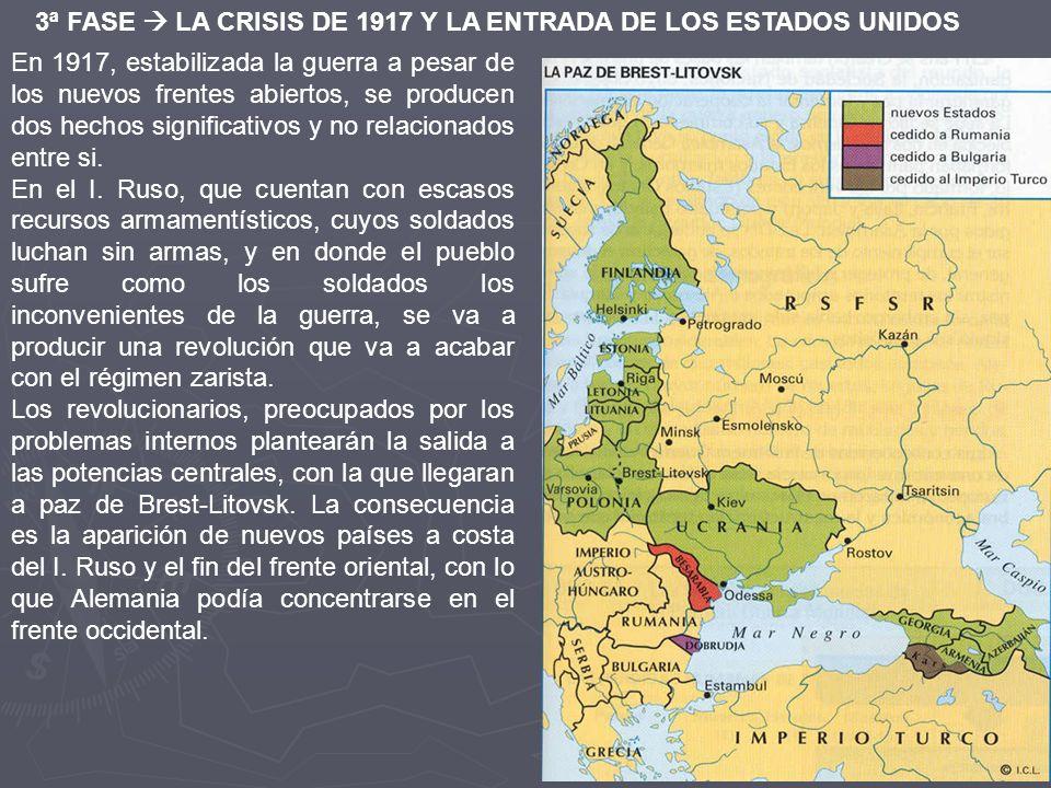 3ª FASE  LA CRISIS DE 1917 Y LA ENTRADA DE LOS ESTADOS UNIDOS