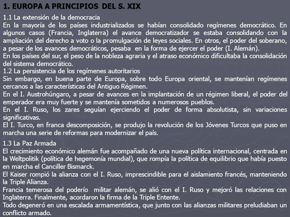 1. EUROPA A PRINCIPIOS DEL S. XIX