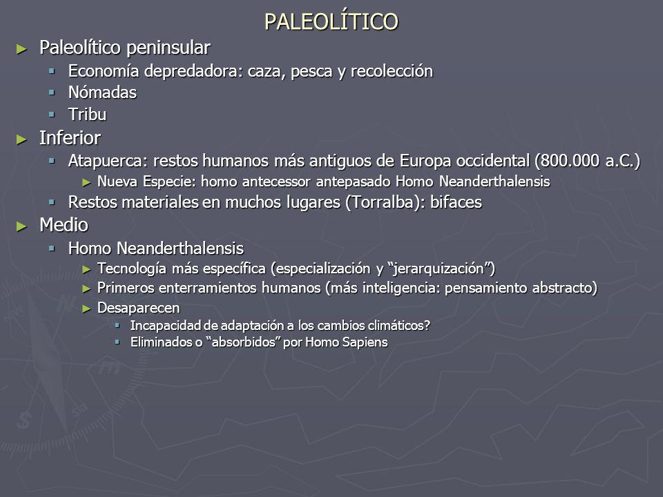 PALEOLÍTICO Paleolítico peninsular Inferior Medio