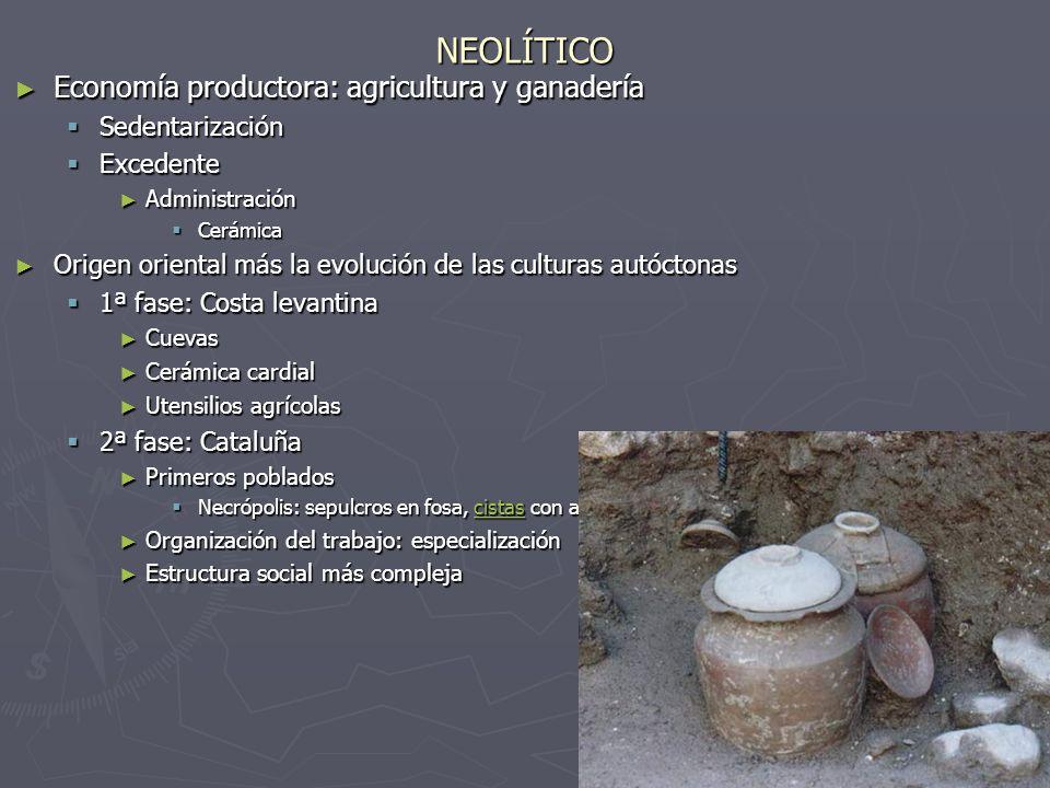 NEOLÍTICO Economía productora: agricultura y ganadería Sedentarización