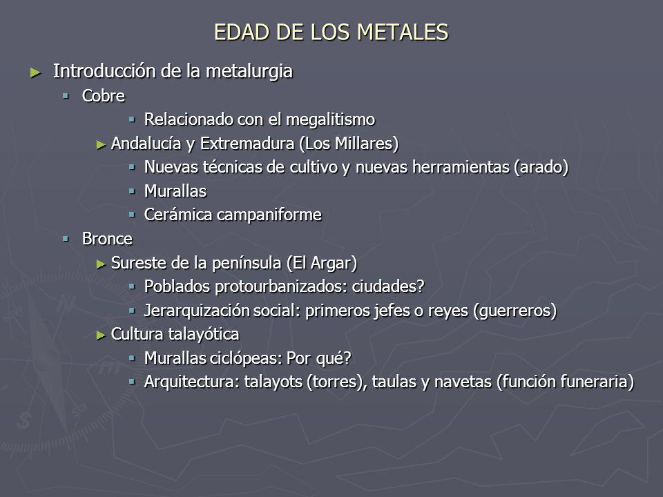 EDAD DE LOS METALES Introducción de la metalurgia Cobre