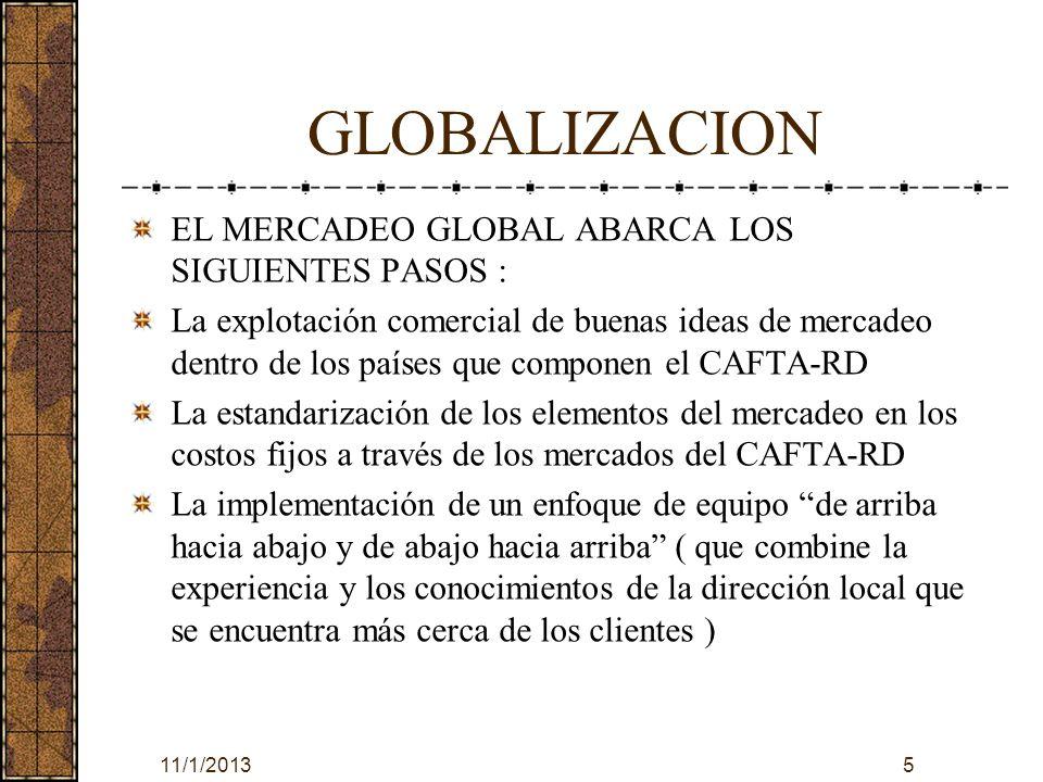 GLOBALIZACION EL MERCADEO GLOBAL ABARCA LOS SIGUIENTES PASOS :