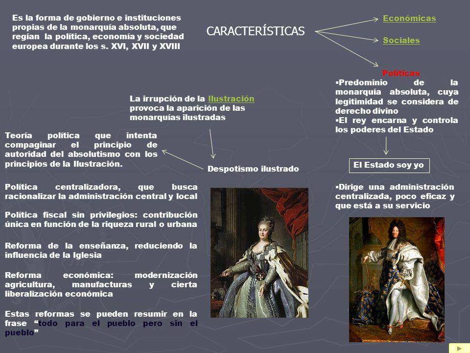 Es la forma de gobierno e instituciones propias de la monarquía absoluta, que regían la política, economía y sociedad europea durante los s. XVI, XVII y XVIII