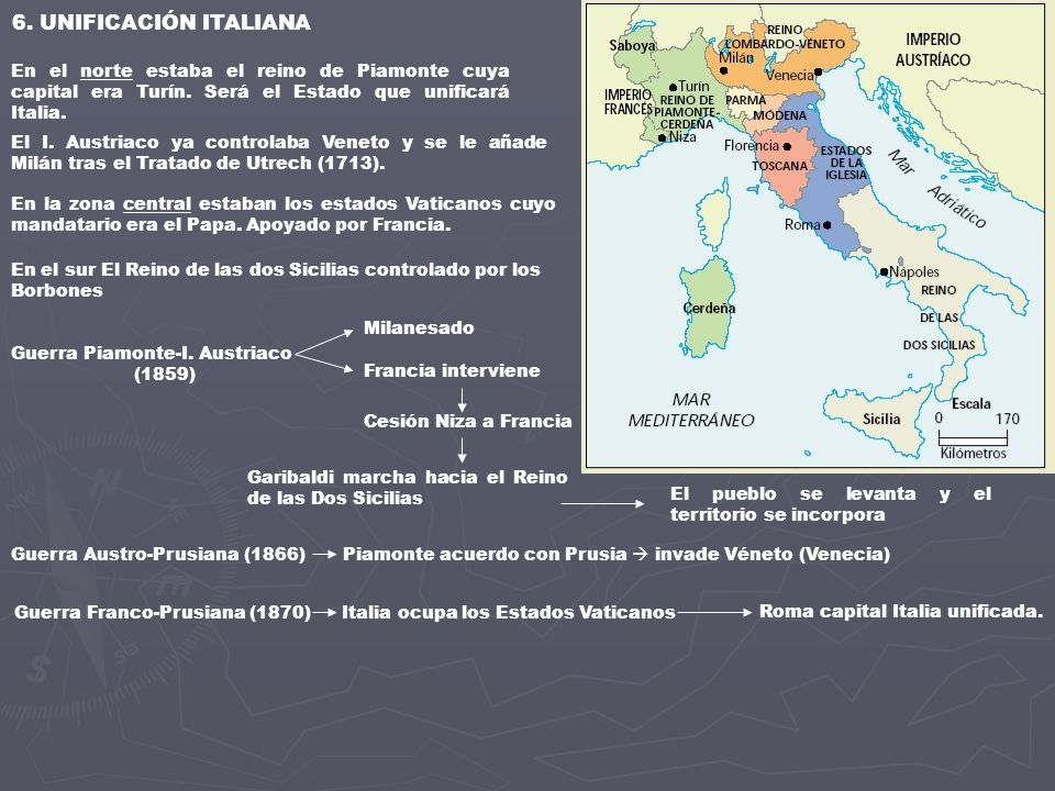 6. UNIFICACIÓN ITALIANA En el norte estaba el reino de Piamonte cuya capital era Turín. Será el Estado que unificará Italia.