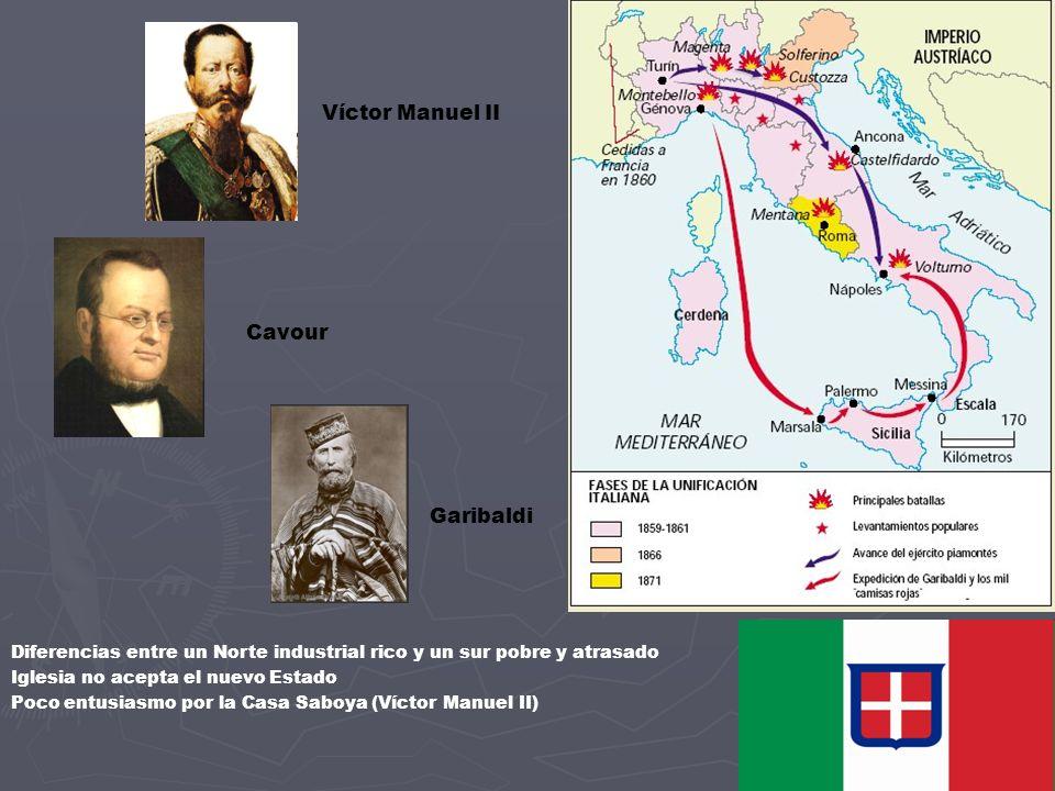 Víctor Manuel II Cavour Garibaldi