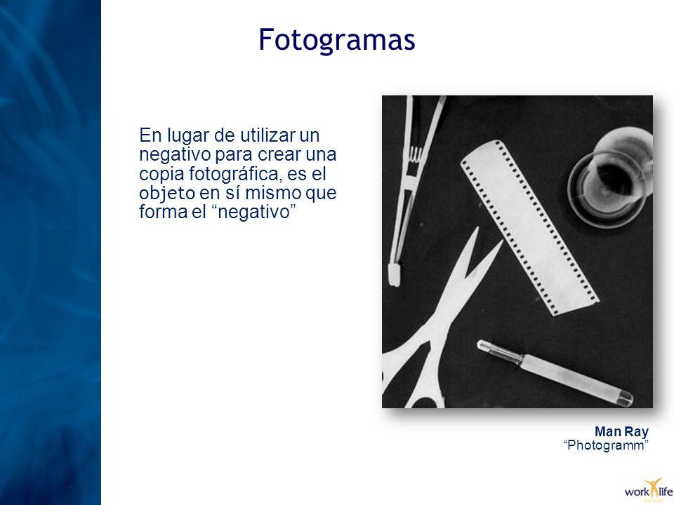 FotogramasEn lugar de utilizar un negativo para crear una copia fotográfica, es el objeto en sí mismo que forma el negativo