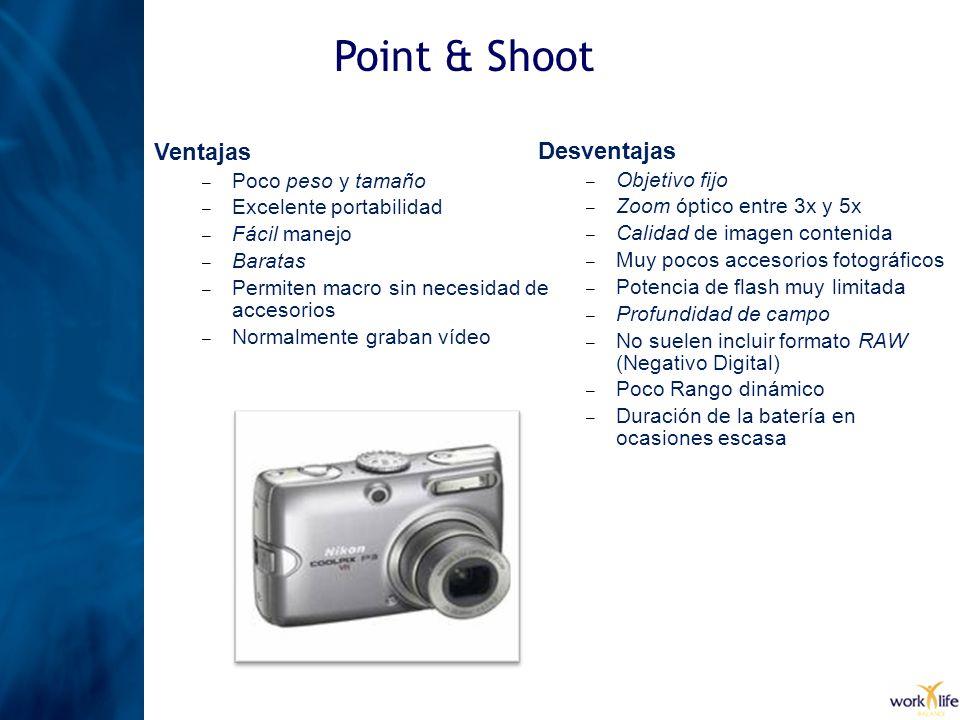 Point & Shoot Ventajas Desventajas Poco peso y tamaño