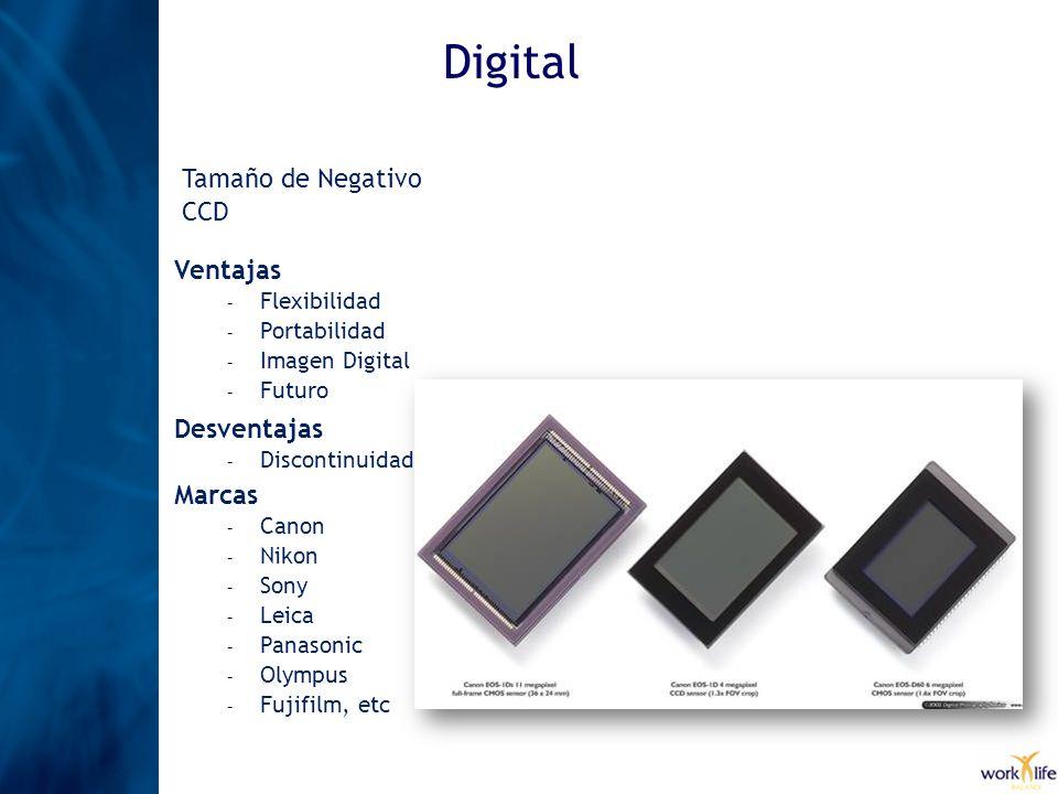 Digital Tamaño de Negativo CCD Ventajas Desventajas Marcas