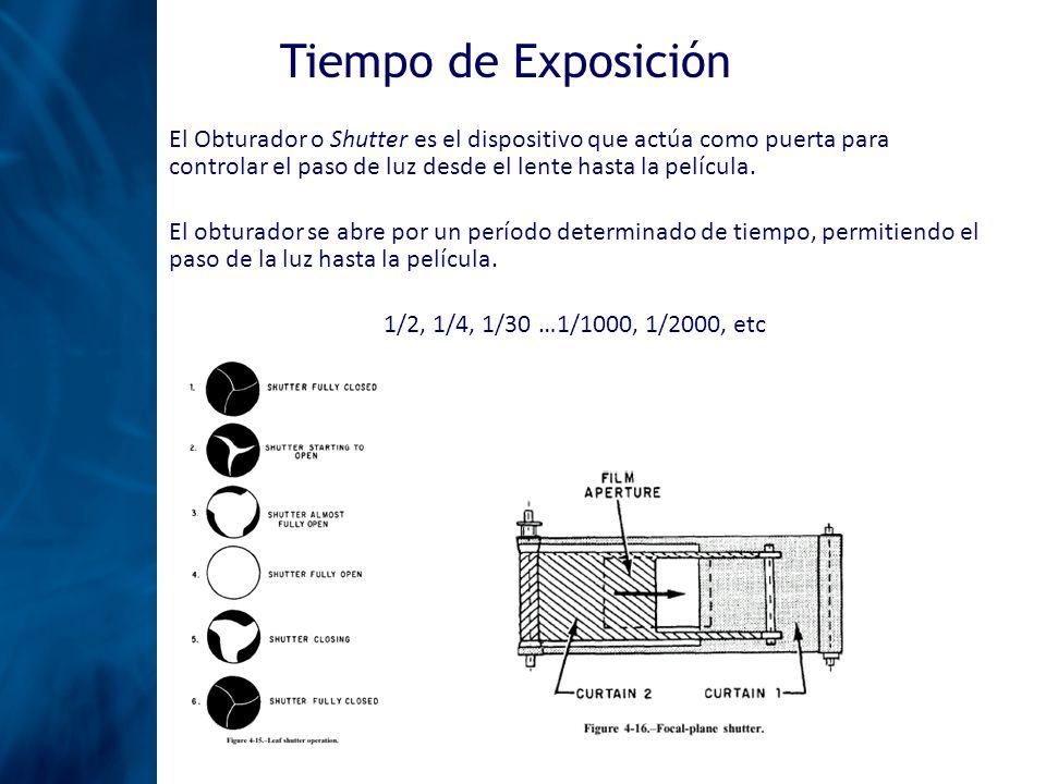 Tiempo de Exposición El Obturador o Shutter es el dispositivo que actúa como puerta para controlar el paso de luz desde el lente hasta la película.