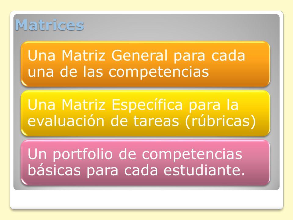 Matrices Una Matriz General para cada una de las competencias
