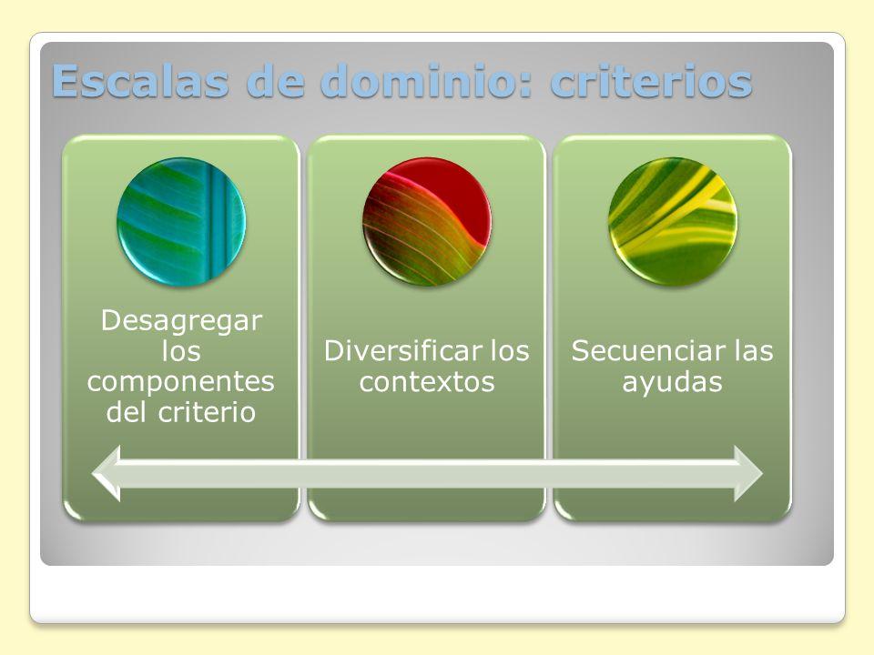 Escalas de dominio: criterios