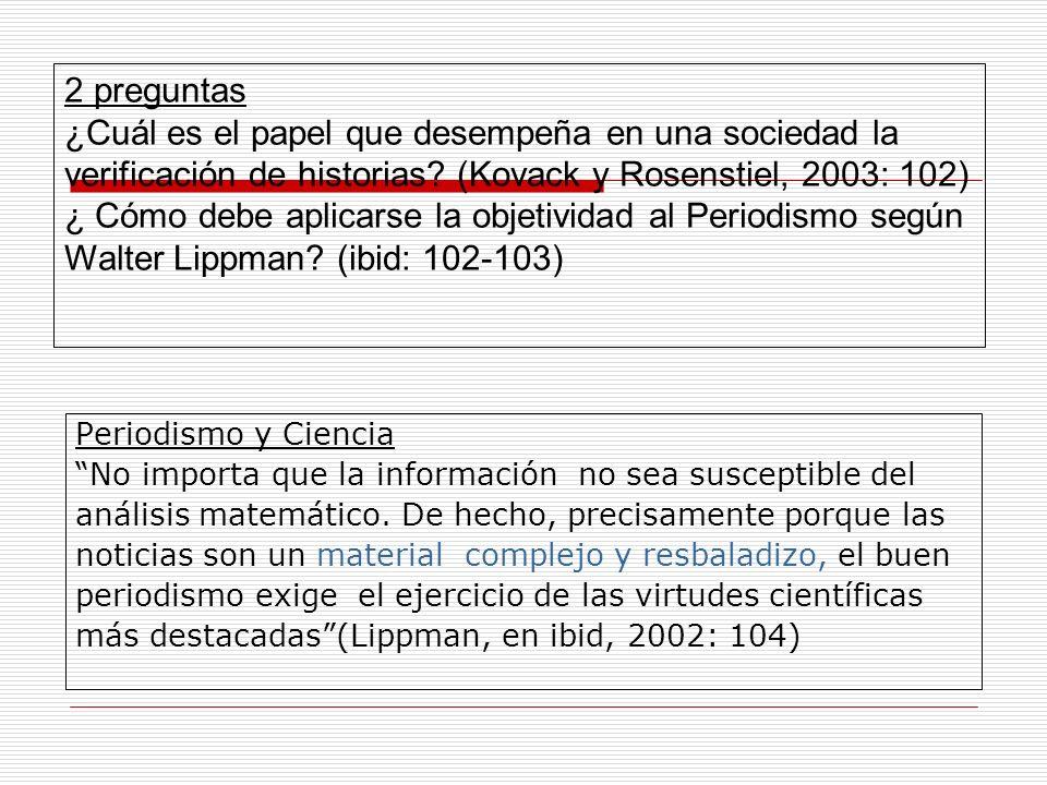 2 preguntas ¿Cuál es el papel que desempeña en una sociedad la verificación de historias (Kovack y Rosenstiel, 2003: 102)