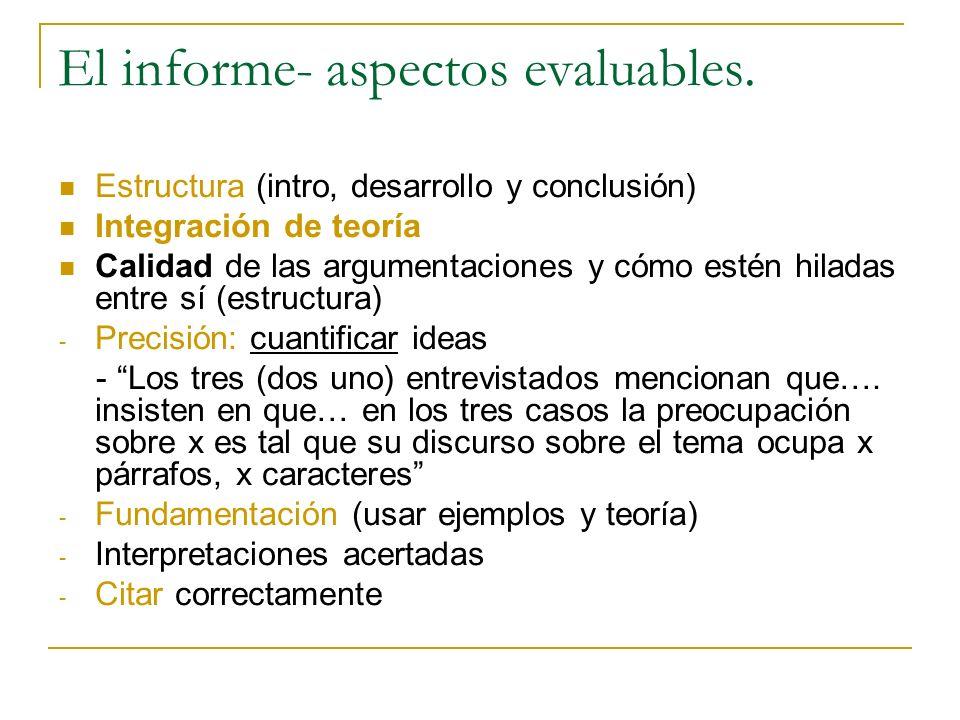 El informe- aspectos evaluables.