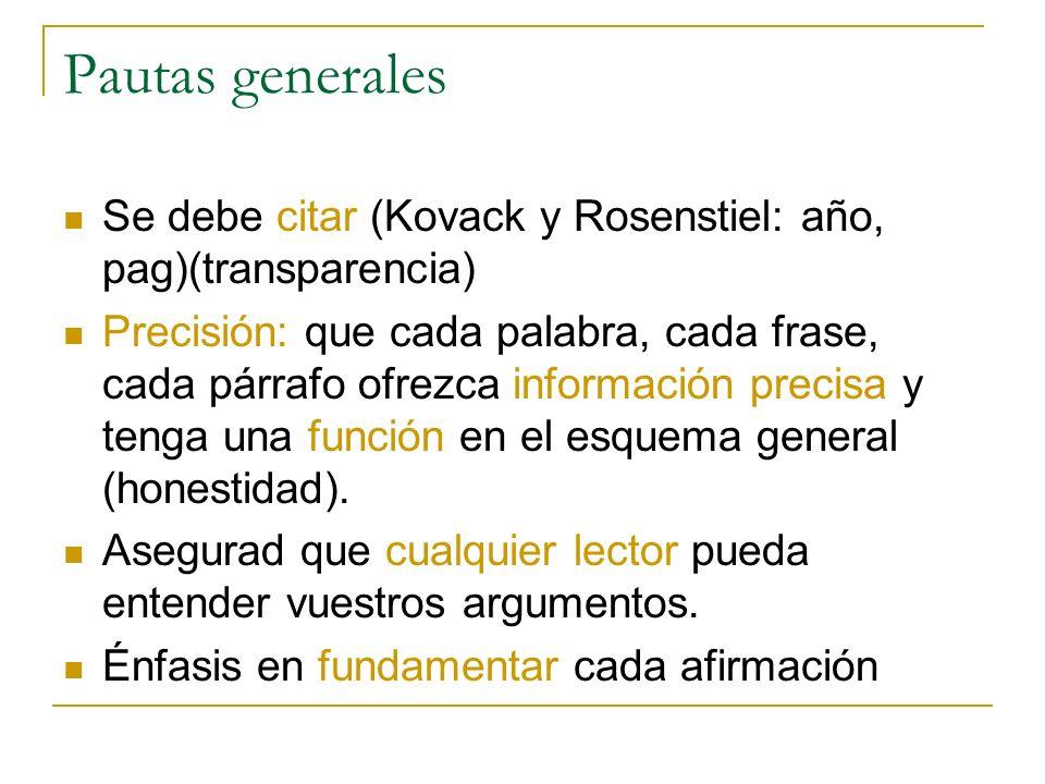 Pautas generales Se debe citar (Kovack y Rosenstiel: año, pag)(transparencia)