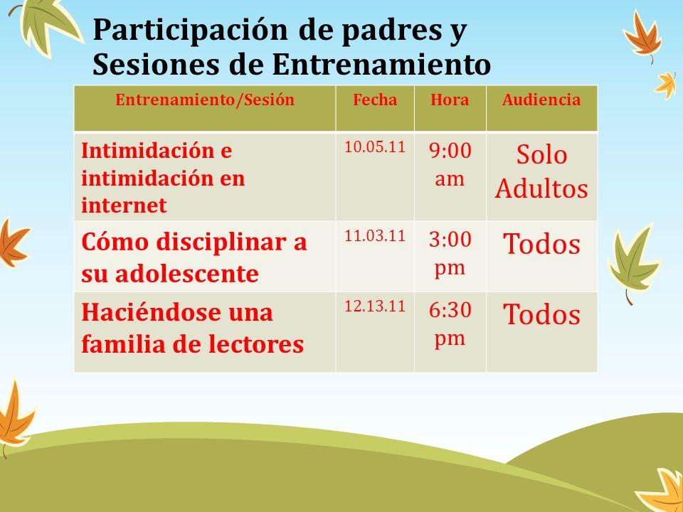 Participación de padres y Sesiones de Entrenamiento
