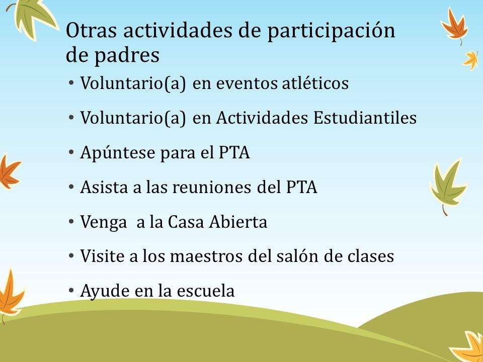 Otras actividades de participación de padres