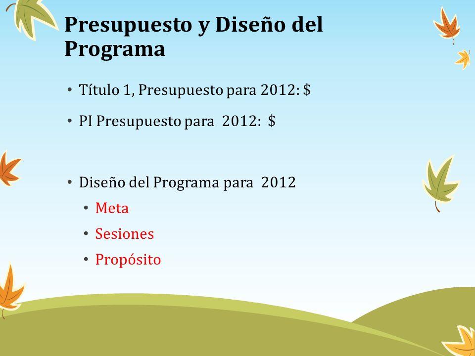 Presupuesto y Diseño del Programa