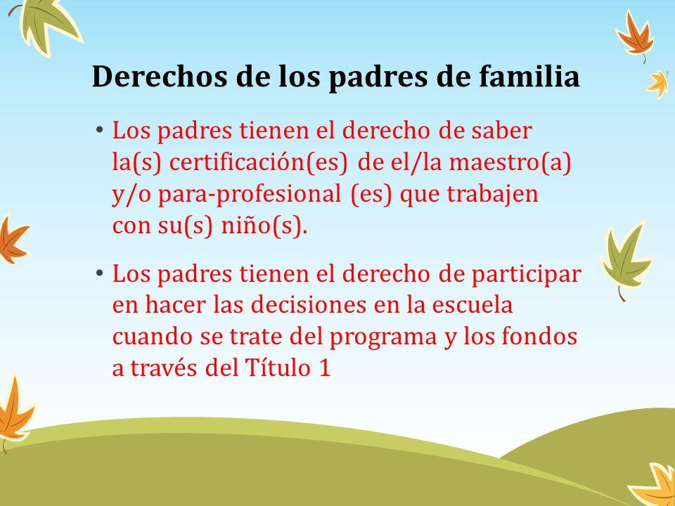 Derechos de los padres de familia