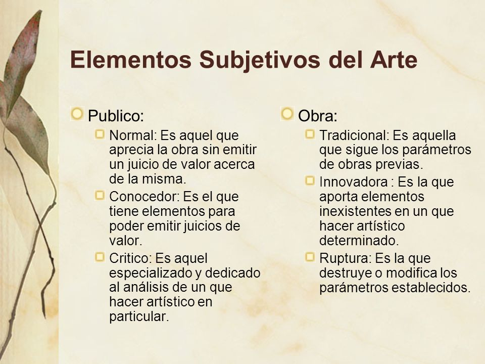 Elementos Subjetivos del Arte