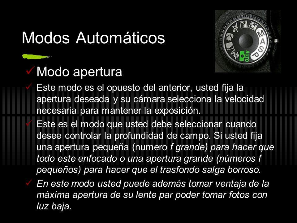 Modos Automáticos Modo apertura