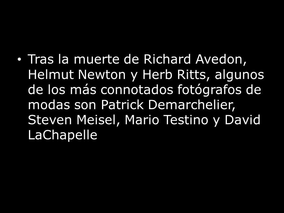 Tras la muerte de Richard Avedon, Helmut Newton y Herb Ritts, algunos de los más connotados fotógrafos de modas son Patrick Demarchelier, Steven Meisel, Mario Testino y David LaChapelle