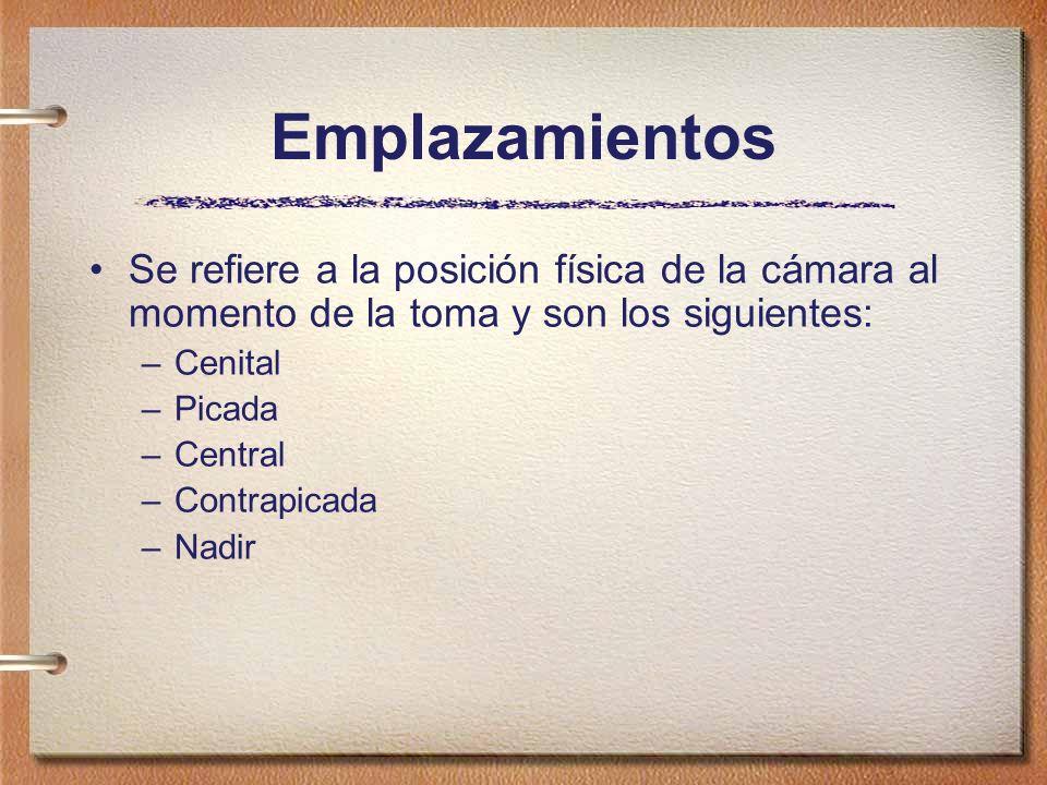 Emplazamientos Se refiere a la posición física de la cámara al momento de la toma y son los siguientes: