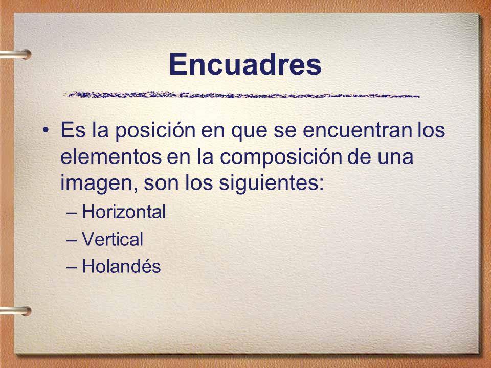 Encuadres Es la posición en que se encuentran los elementos en la composición de una imagen, son los siguientes: