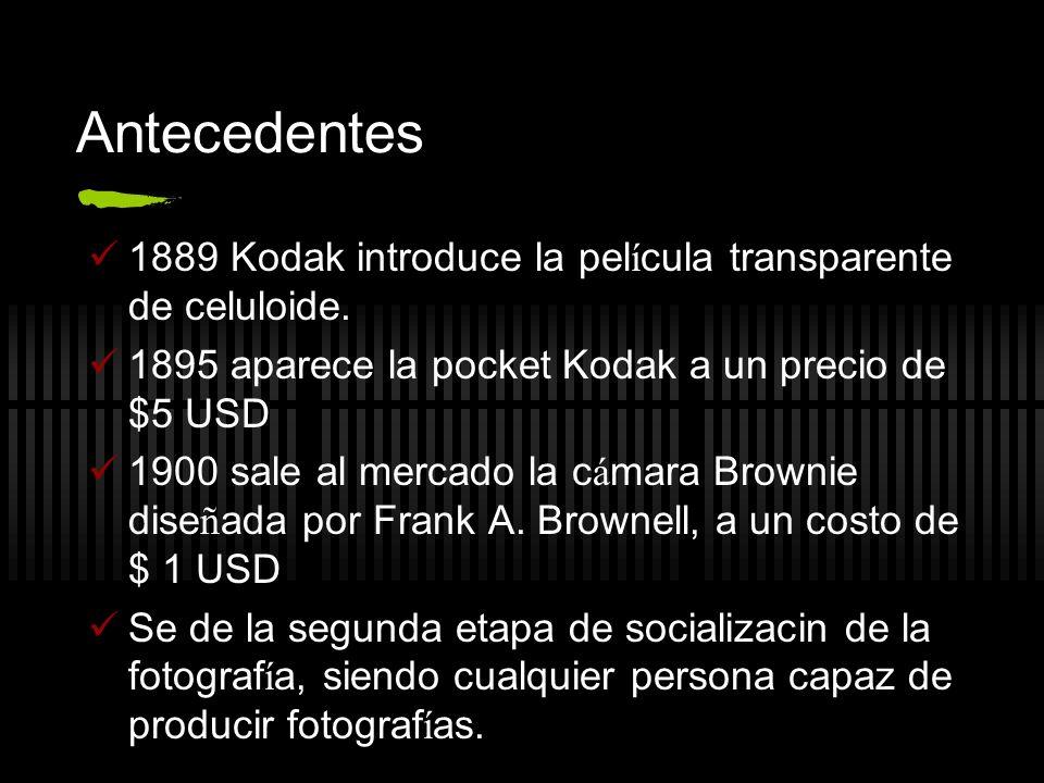 Antecedentes 1889 Kodak introduce la película transparente de celuloide. 1895 aparece la pocket Kodak a un precio de $5 USD.