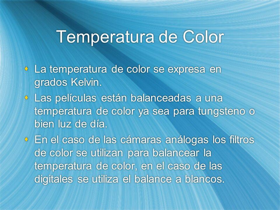 Temperatura de Color La temperatura de color se expresa en grados Kelvin.