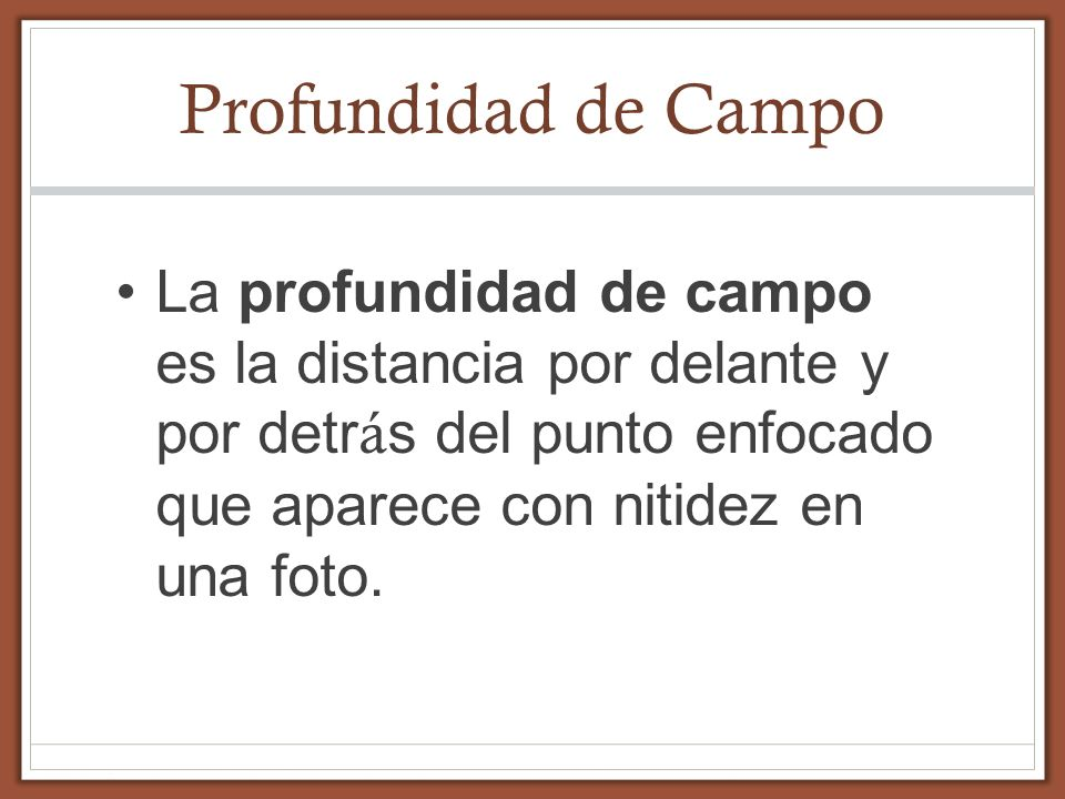 Profundidad de Campo La profundidad de campo es la distancia por delante y por detrás del punto enfocado que aparece con nitidez en una foto.