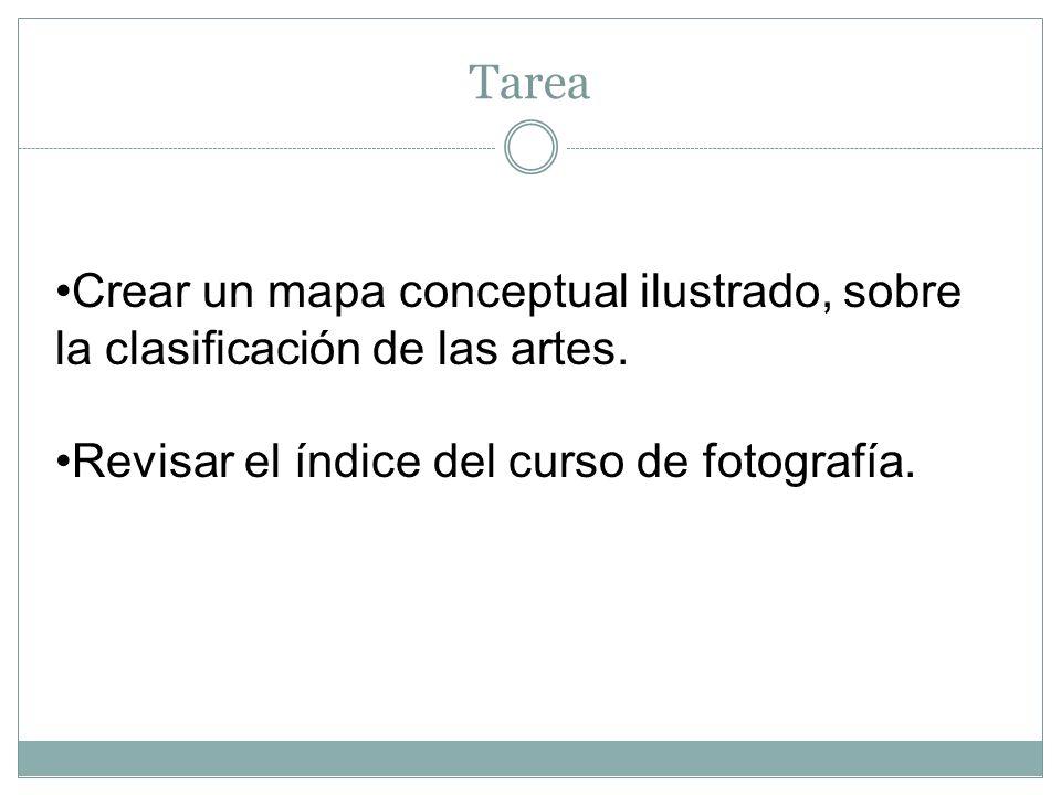TareaCrear un mapa conceptual ilustrado, sobre la clasificación de las artes.