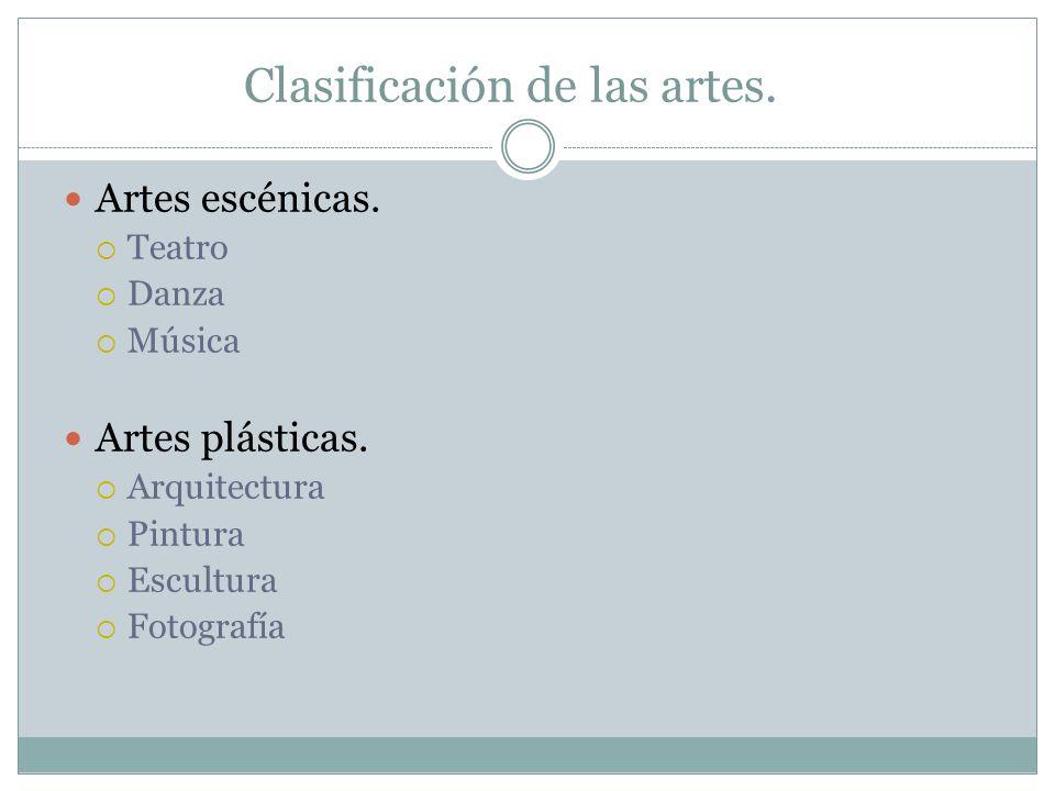 Clasificación de las artes.