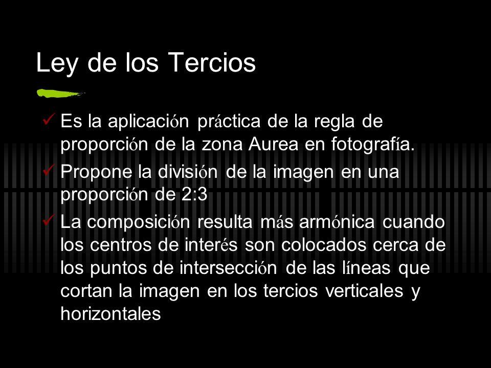 Ley de los Tercios Es la aplicación práctica de la regla de proporción de la zona Aurea en fotografía.