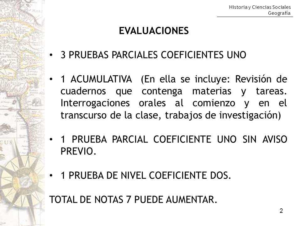 EVALUACIONES 3 PRUEBAS PARCIALES COEFICIENTES UNO.