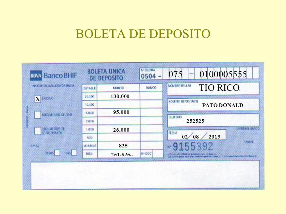 BOLETA DE DEPOSITO 075 0100005555 TIO RICO X 130.000 PATO DONALD
