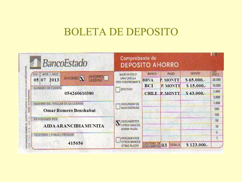 BOLETA DE DEPOSITO X X 03 05 07 2013 BCI P. MONTT $ 15.000.-