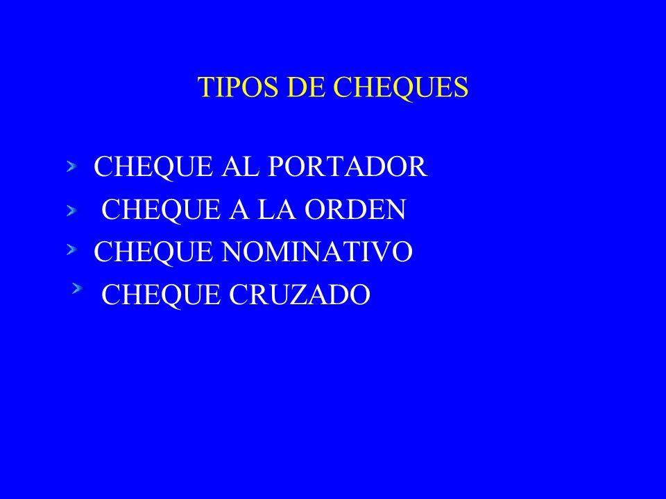 TIPOS DE CHEQUES CHEQUE AL PORTADOR CHEQUE A LA ORDEN CHEQUE NOMINATIVO CHEQUE CRUZADO