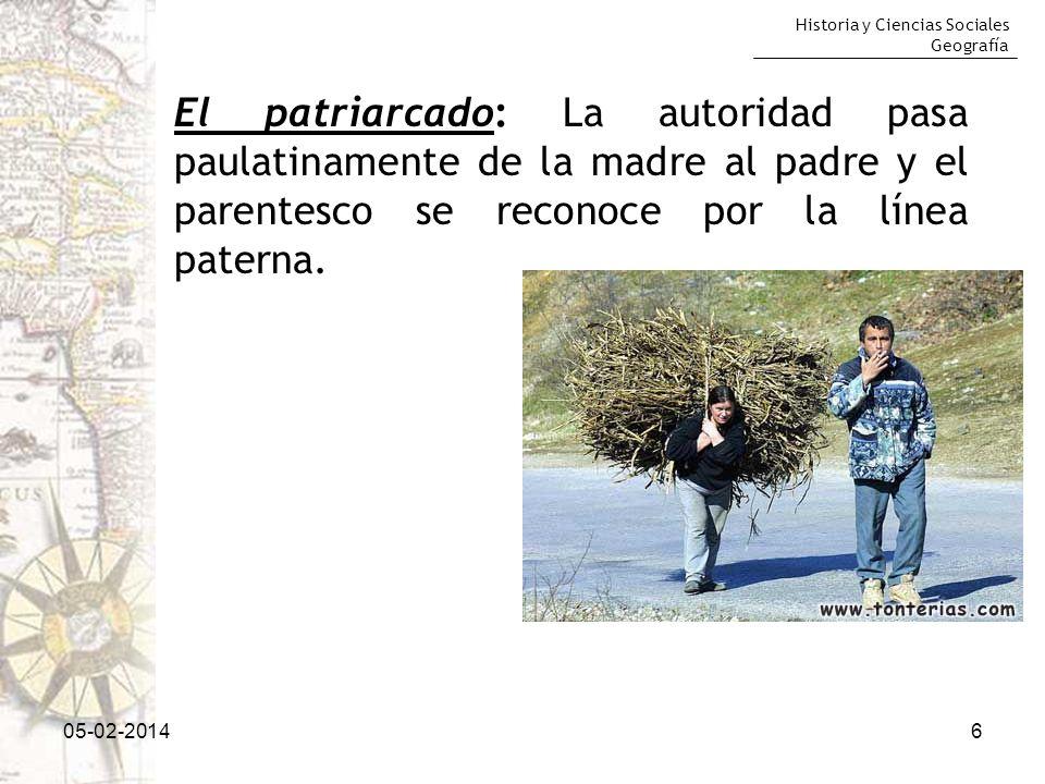 El patriarcado: La autoridad pasa paulatinamente de la madre al padre y el parentesco se reconoce por la línea paterna.