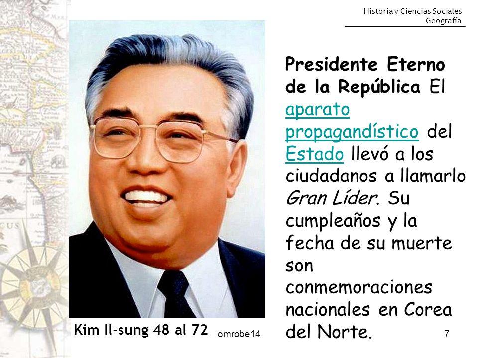 Presidente Eterno de la República El aparato propagandístico del Estado llevó a los ciudadanos a llamarlo Gran Líder. Su cumpleaños y la fecha de su muerte son conmemoraciones nacionales en Corea del Norte.