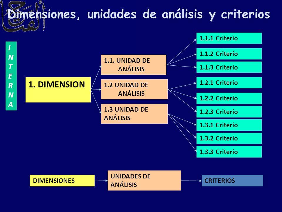 Dimensiones, unidades de análisis y criterios