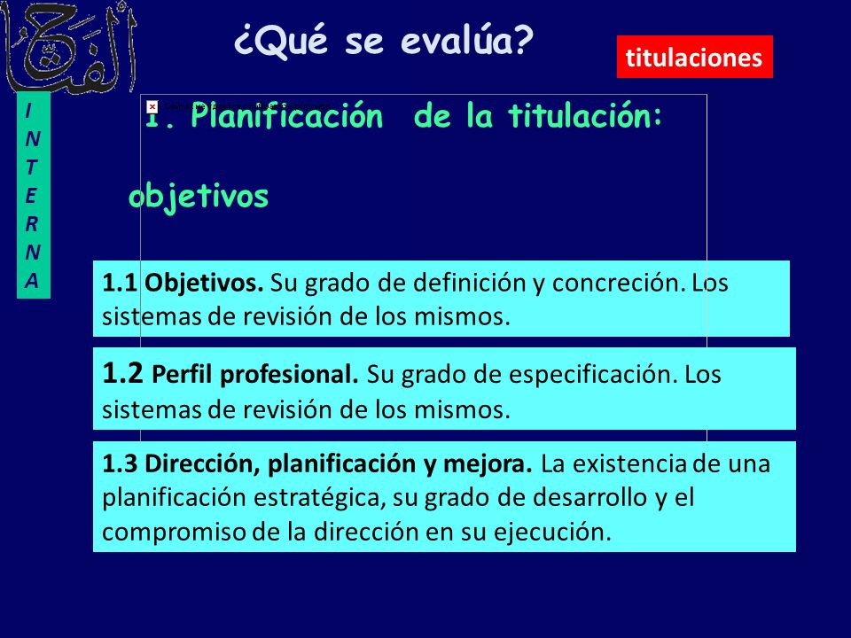 ¿Qué se evalúa 1. Planificación de la titulación: objetivos