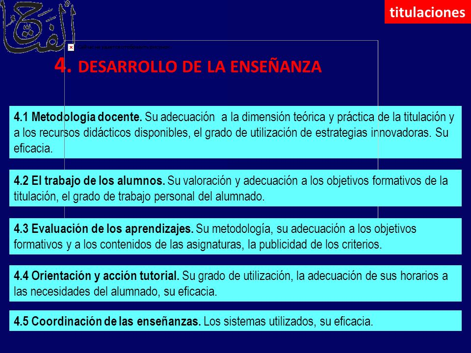 4. DESARROLLO DE LA ENSEÑANZA