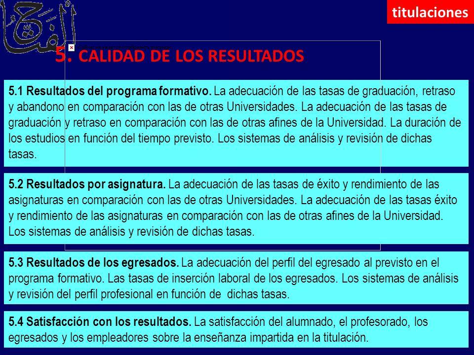 5. CALIDAD DE LOS RESULTADOS