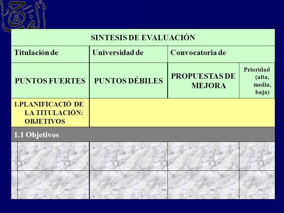 SINTESIS DE EVALUACIÓN Prioridad (alta, media, baja)
