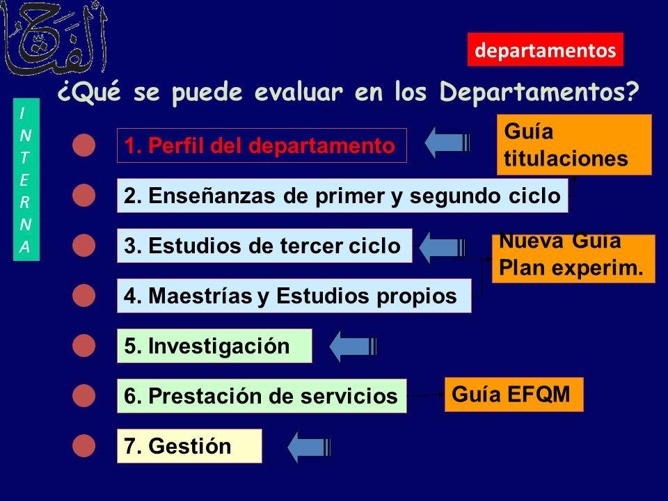 ¿Qué se puede evaluar en los Departamentos