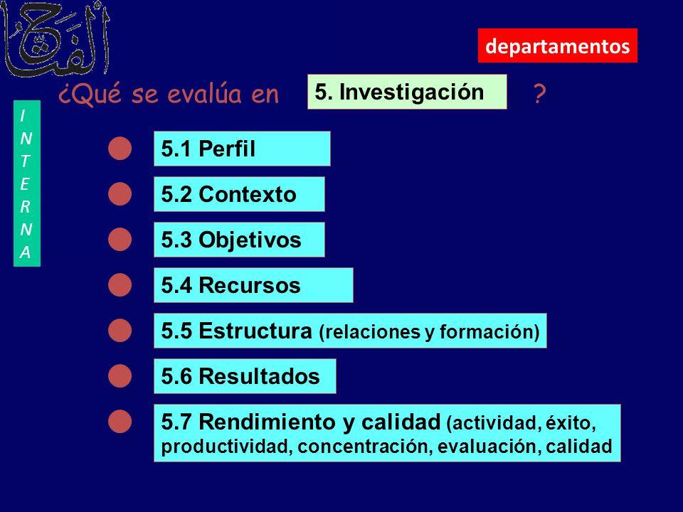 ¿Qué se evalúa en departamentos 5. Investigación 5.1 Perfil
