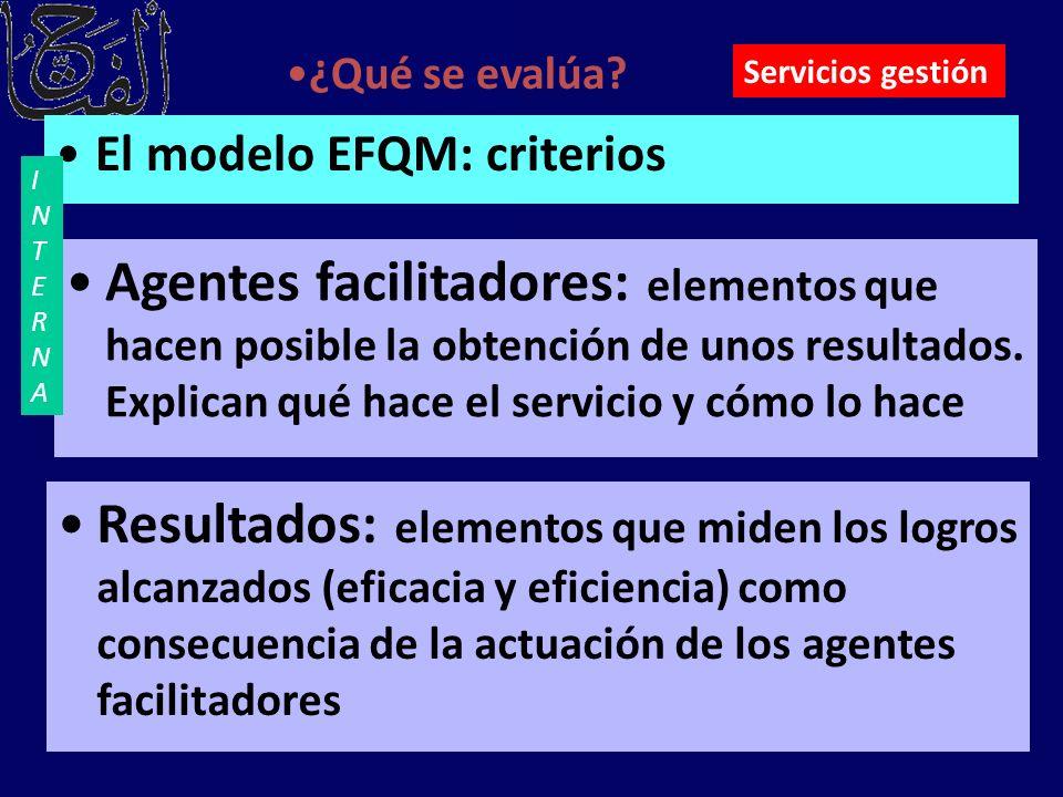 ¿Qué se evalúa Servicios gestión. El modelo EFQM: criterios. INTERNA.