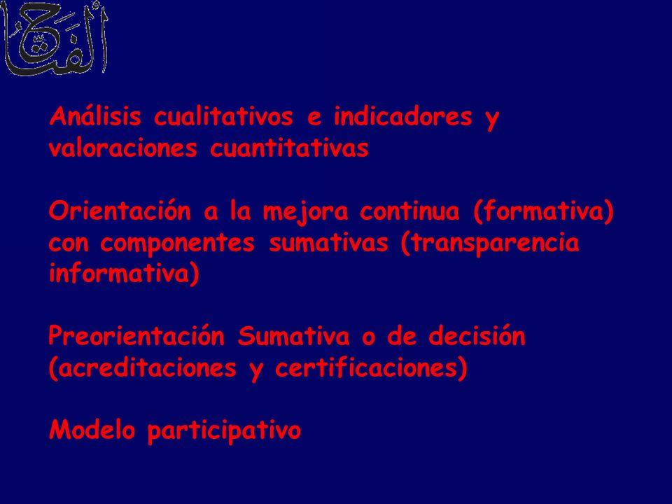 Análisis cualitativos e indicadores y valoraciones cuantitativas